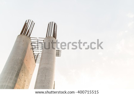 The pillar of a bridge under construction,not finish - stock photo