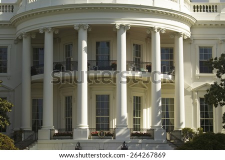 The pillars of the South Portico of the White House, the Truman Balcony, in Washington, DC on May 7, 2007, in preparation for the visit of Her Majesty Queen Elizabeth II and President George W. Bush - stock photo