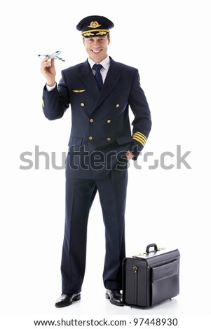 The pilot model airplane on a white background - stock photo