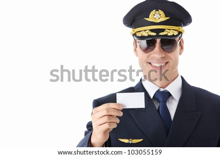 The pilot of a business card on a white background - stock photo