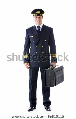 The pilot of a suitcase on a white background - stock photo