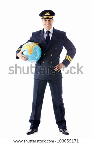 The pilot with the globe on a white background - stock photo
