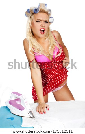 the pin-up girl in full, growth with a beautiful figure, on a white background  - stock photo