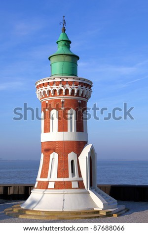 the Pingelturm, an old lighthouse in Bremerhaven, Germany - stock photo