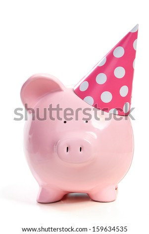The pink  pig in a cap on a white background - stock photo