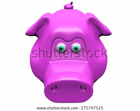 the  pink pig piggy bank - stock photo