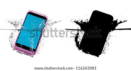 The pink smartphone fallen in water. 3D-model. Black mask. - stock photo
