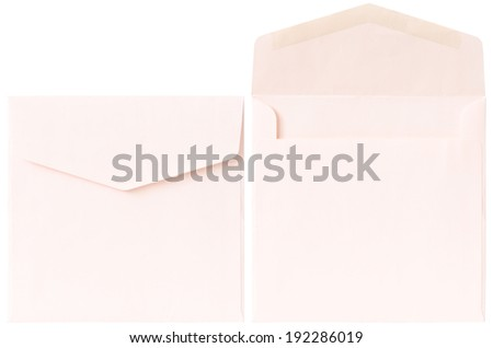 The 2 pink square envelopes in open and close condition on white background - stock photo