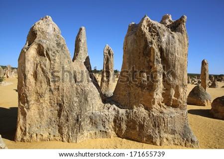 The Pinnacles Desert in Nambung National Park. Western Australia - stock photo