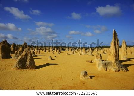 The Pinnacles Desert in Perth, Western Australia - stock photo