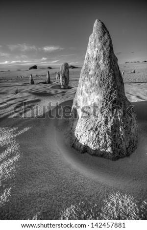 The Pinnacles desert in Western Australia. - stock photo