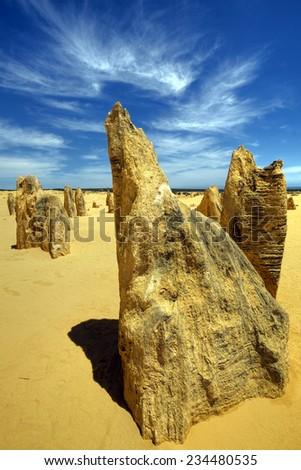 The Pinnacles Dessert of Nambung National Park, Western Australia - stock photo