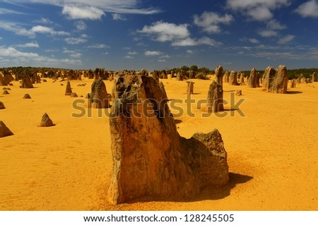 The Pinnacles in the Nambung National Park, Western Australia. - stock photo