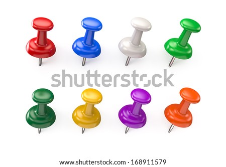 The pins of various colors on a white background  - stock photo