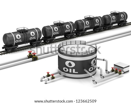 The pipeline and storage facility on a white background. - stock photo