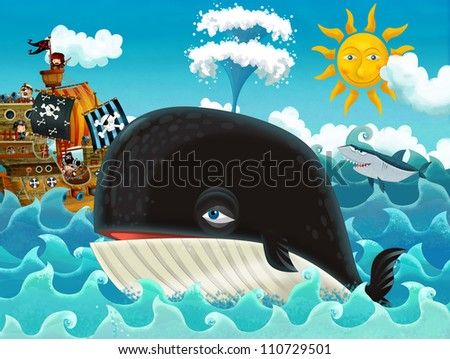 The pirates and the ships - bright sky - illustration for the children main theme whale 3 - stock photo
