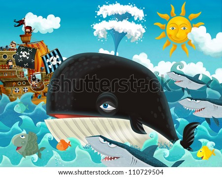 The pirates and the ships - bright sky - illustration for the children main theme whale 2