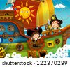 The pirates - treasure hunt - illustration for the children - stock photo