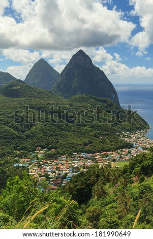 The Pitons, St Lucia.  The Pitons are two volcanic spires on the Caribbean island of St Lucia and are a UNESCO world heritage site. - stock photo