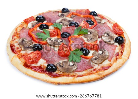 The pizza isolated on white background  - stock photo