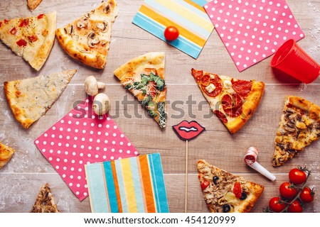 The pizza party, On a wooden table.