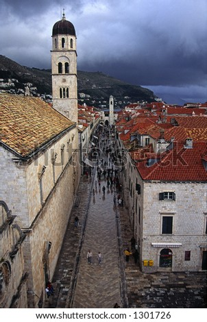 The Placa, main street in the historic downtown of Dubrovnik, after a rain storm.