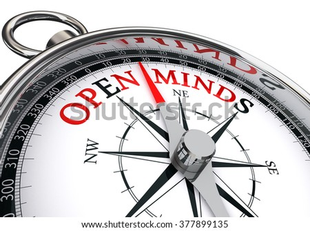 the place to find open minds indicated by concept compass, isolated on white background - stock photo