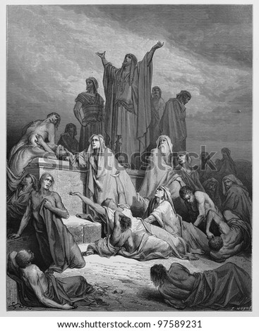 The Plague of Jerusalem - Picture from The Holy Scriptures, Old and New Testaments books collection published in 1885, Stuttgart-Germany. Drawings by Gustave Dore. - stock photo
