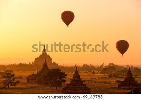 The plain of Bagan at sunset, Myanmar. - stock photo