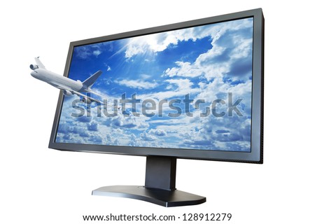 The plane flies from the TV screen as concept of 3D LCD TV. Isolated on white background. - stock photo