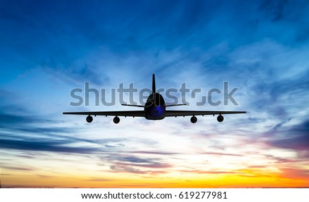 The plane flies in the sky against the background of clouds