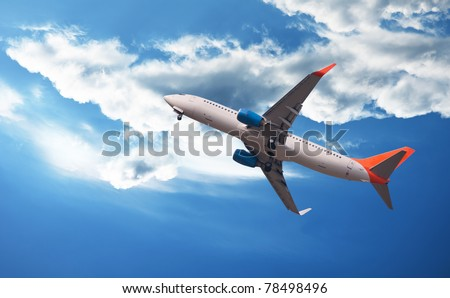 The plane flies through clouds