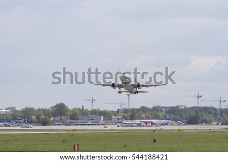 The plane flies up from the Warsaw airport on the day of August 15, 2016.