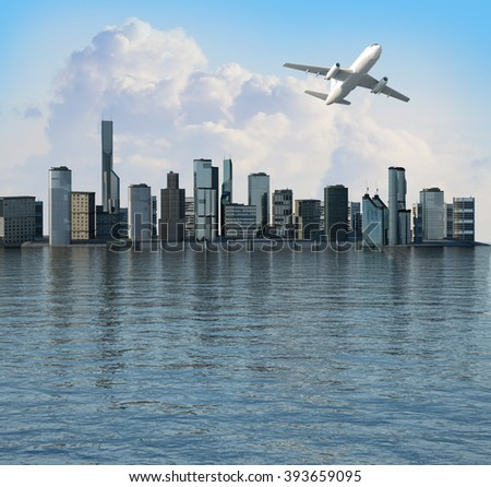 the plane flying over the stylized city of metropolis on the background sea 3D render - stock photo