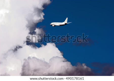 The plane in the sky