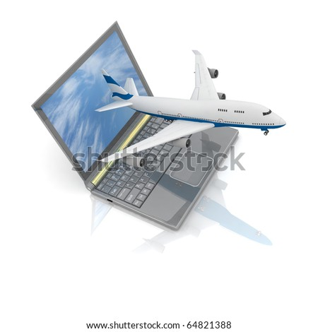 The plane takes off from the laptop monitor - stock photo
