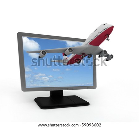 The plane takes off from the monitor - stock photo