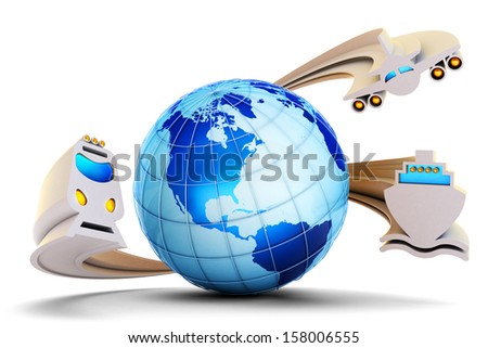 The plane, the train and the ship as transport for traveling around the world. International transportation concept - stock photo