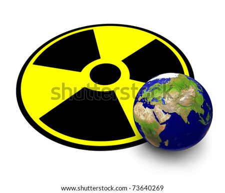 The planet Earth and sign of radiation - stock photo
