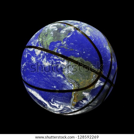 The Planet Earth as a Basket Ball. (the original image of earth is a public domain image from NASA) - stock photo