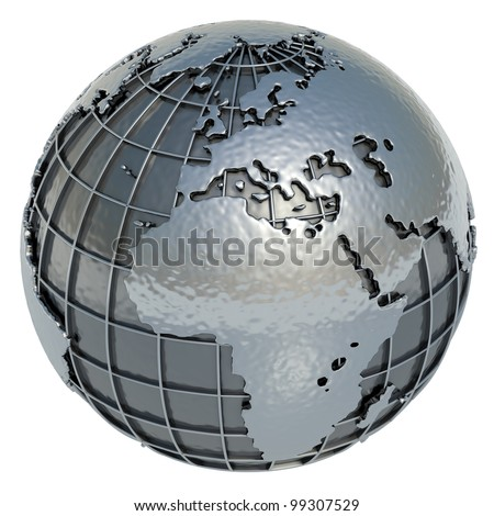 The Planet Earth (Europe Africa) made of metal on a white background.