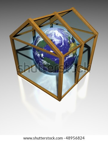 The planet earth in a transparent greenhouse - stock photo