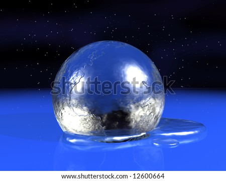 The planet earth is slowly melting due to the effects of climate change. - stock photo