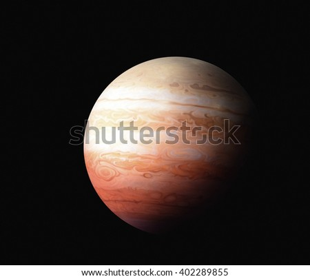 the planet Jupiter on a black background. Elements of this image furnished by NASA