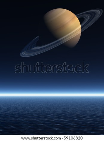 The planet Saturn rising over a night time sea - a 3D rendered scene