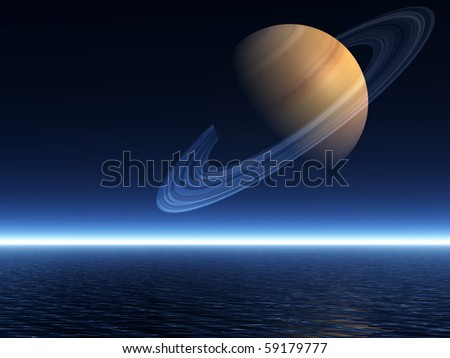 The planet Saturn rising over a night-time sea - a 3D rendered scene - stock photo