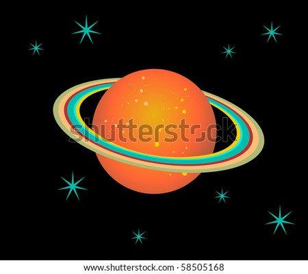 The planet Saturn surrounded by stars over black background. - stock photo