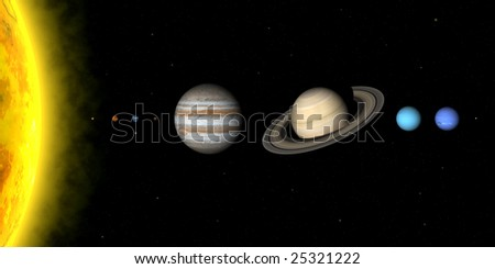The planets in solar system. Sizes are to scale, but relative distances are not - stock photo