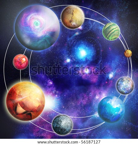 The planets in the star sky, digital picture - stock photo