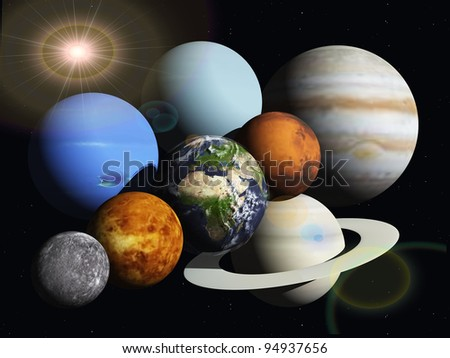the planets of the solar system - stock photo